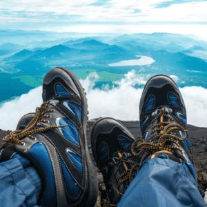 Two Pairs of Hiking Boots at the Summit of Mt Fuji