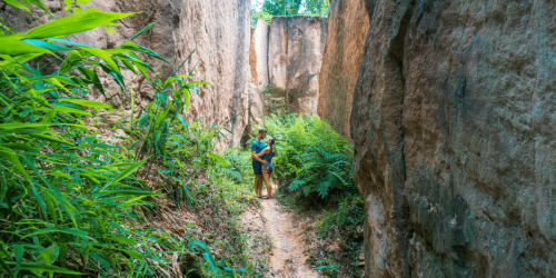 A couple in the land split in Pai Thailand