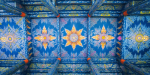 Ceiling of the Blue temple in Chiang Rai one of the Best Places in Thailand