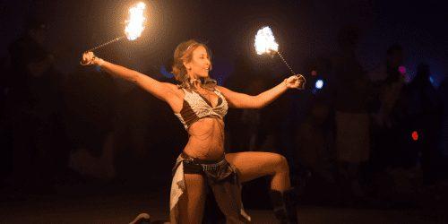 Girl fire dancing in Koh Phi Phi thailand
