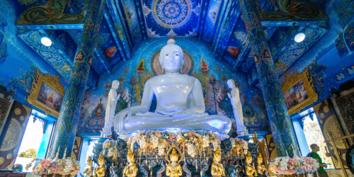 White Buddha in the Blue Temple in Chiang Rai