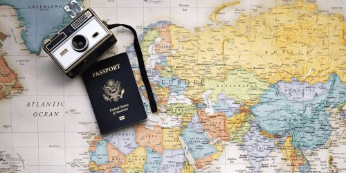 Passport on a map showing digital nomad lifestyle