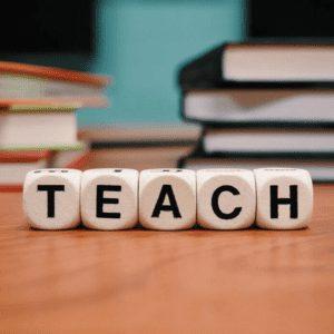 "Big blocks that say the words ""teach"""