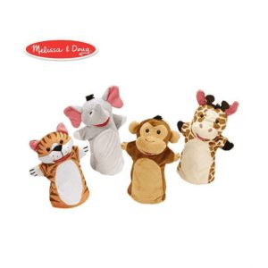 Hand puppets of various animals