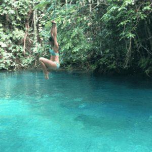 Ropes swings at Kawasan Falls in Cebu Philippines