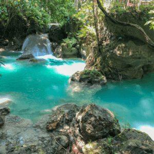 Waterfall at Kawasan Falls in Cebu Philippines