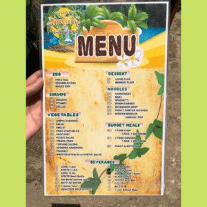 Menu at restaurant in Kawasan Falls in Cebu Philippines
