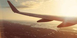 Plane landing in the morning