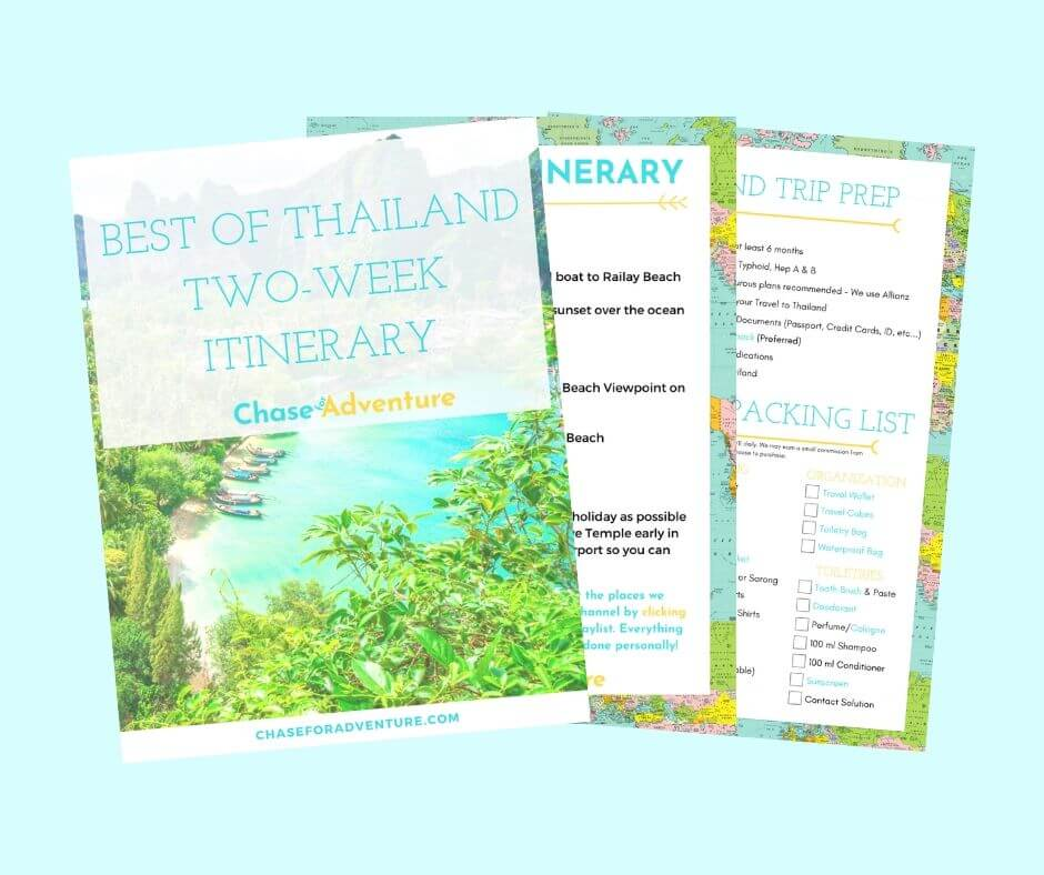 Thailand Two Week Itinerary Chase for Adventure Shop