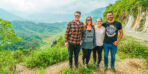 A group of full time travelers on the Ha Giang loop in Northern Vietnam.